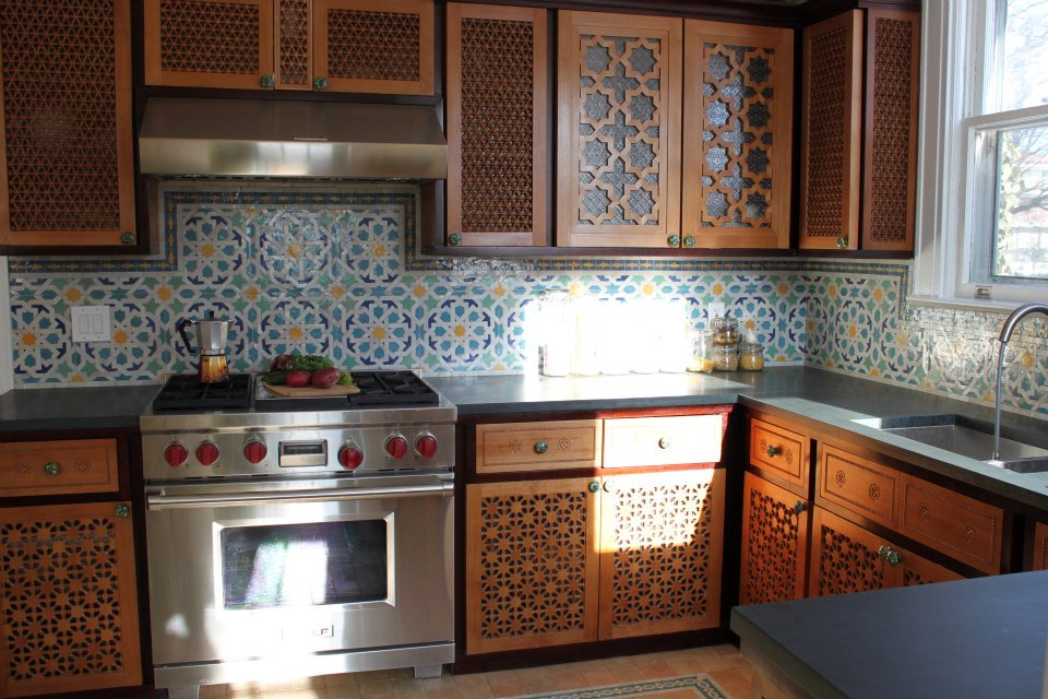 Moroccan Kitchen With Beautiful Hand Carved Wood Cabinets So Moroccan